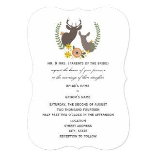 """Boda rústico de los ciervos - naranja floral invitación 5"""" x 7"""""""