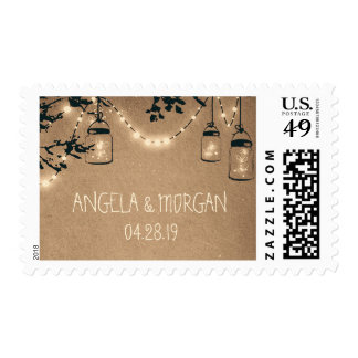 Boda rústico de los tarros de albañil de las sello postal