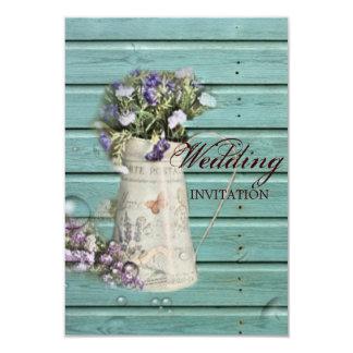 """boda rústico de madera del granero floral del país invitación 3.5"""" x 5"""""""