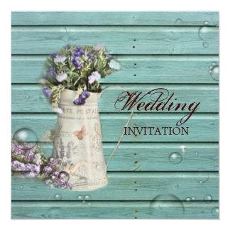 """boda rústico de madera del granero floral del país invitación 5.25"""" x 5.25"""""""