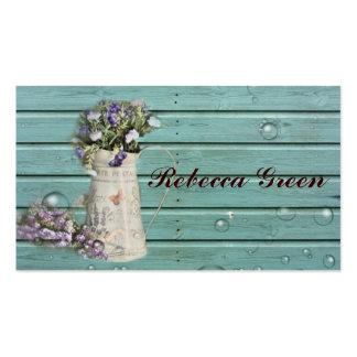 boda rústico de madera del granero floral del país tarjetas de visita