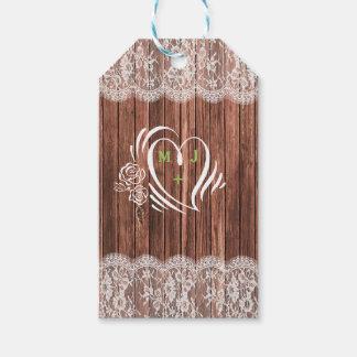 Boda rústico de madera del país del cordón y del etiquetas para regalos