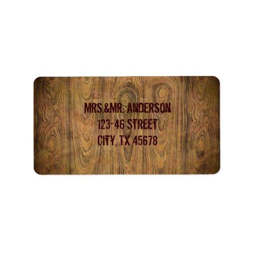 Boda rústico de madera del vaquero del país del etiquetas de dirección