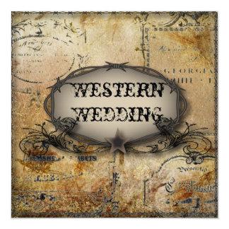"""boda rústico del alambre de púas del país invitación 5.25"""" x 5.25"""""""