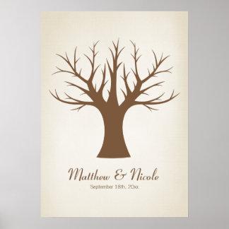 Boda rústico del árbol de la huella dactilar de Br Posters