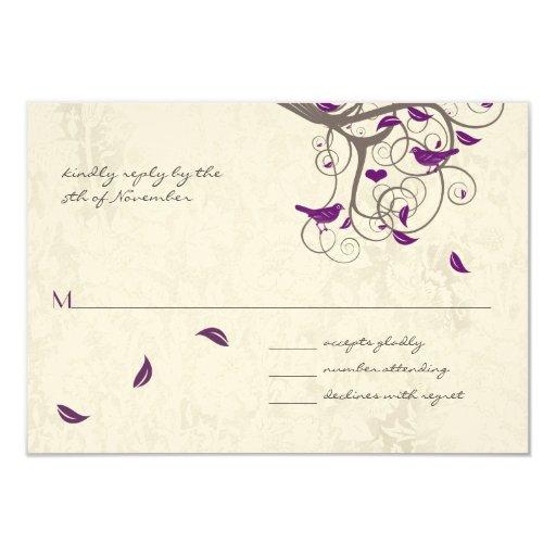 Boda rústico del árbol del pájaro púrpura radiante invitación 8,9 x 12,7 cm
