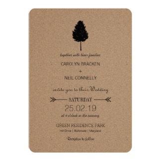 """Boda rústico del árbol forestal del papel de Kraft Invitación 5"""" X 7"""""""