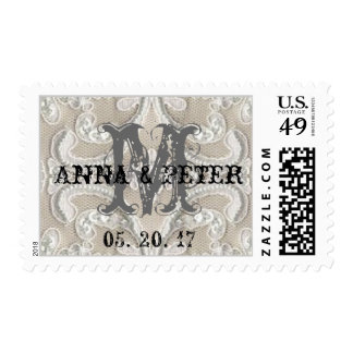 Boda rústico del cordón con monograma del vintage sello postal