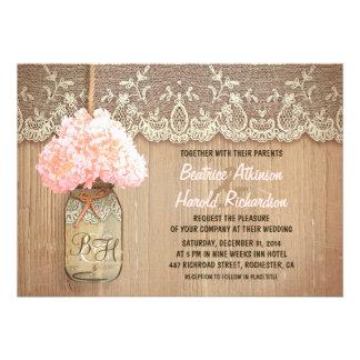 boda rústico del hydrangea del rosa del tarro de a