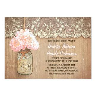 """boda rústico del hydrangea del rosa del tarro de invitación 5"""" x 7"""""""