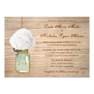 Boda rústico del Hydrangea del tarro de albañil Invitación 12,7 X 17,8 Cm