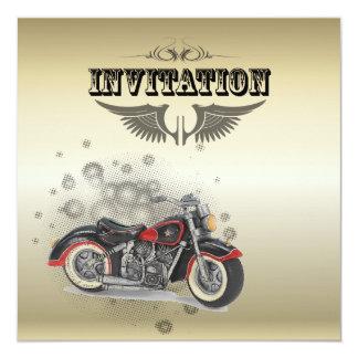 """Boda rústico del motorista de Motorcyle del grunge Invitación 5.25"""" X 5.25"""""""