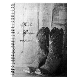 Boda rústico del país de las botas de vaquero libro de apuntes