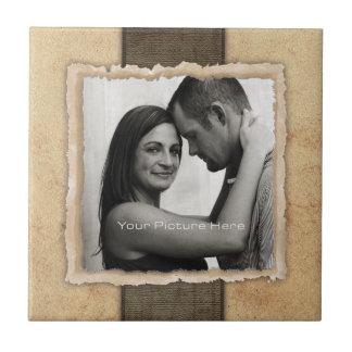 Boda rústico del vintage de la foto del compromiso teja cerámica