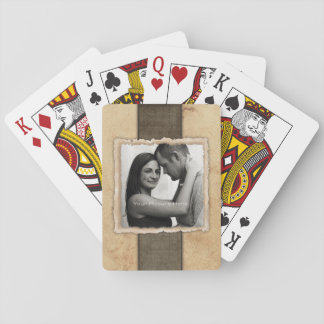 Boda rústico del vintage de la foto del compromiso naipes