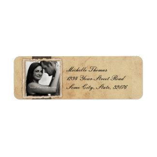 Boda rústico del vintage de la foto del compromiso etiquetas de remite