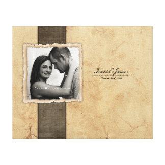 Boda rústico del vintage de la foto del compromiso lona estirada galerías