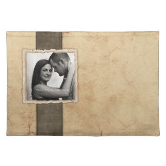 Boda rústico del vintage de la foto del compromiso manteles individuales