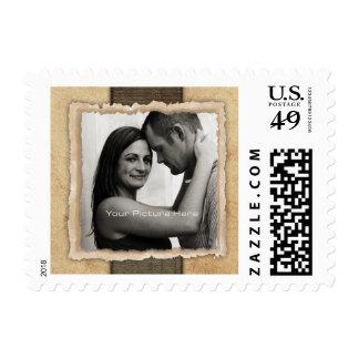 Boda rústico del vintage de la foto del compromiso sello