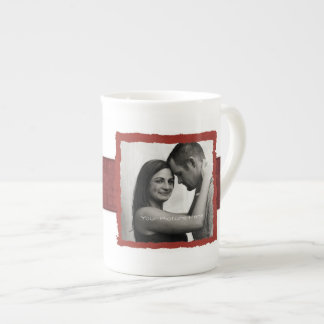 Boda rústico del vintage de la foto del compromiso taza de china