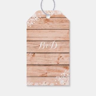 Boda rústico elegante del cordón y de madera del etiquetas para regalos