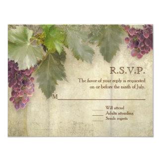 """Boda rústico elegante del lagar del viñedo de RSVP Invitación 4.25"""" X 5.5"""""""