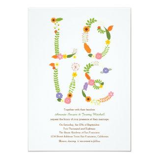 Boda rústico floral del arbolado de las letras de invitación 12,7 x 17,8 cm