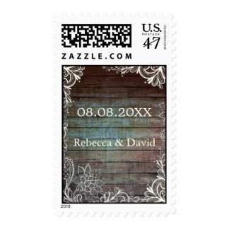 boda rústico moderno del cordón del barnwood sello