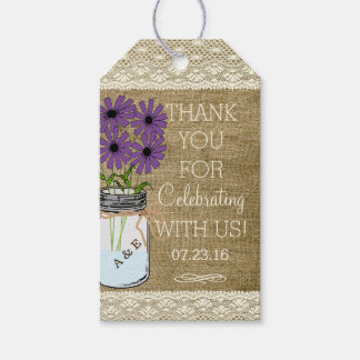 Boda rústico púrpura del país de la arpillera el   etiquetas para regalos