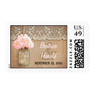 boda rústico rosado del tarro de albañil del sello