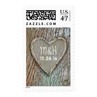 boda rústico tallado madera del país del corazón timbres postales