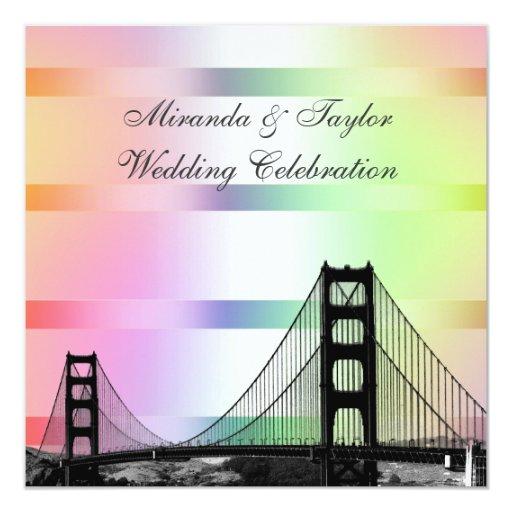 Boda SQ del arco iris del pastel del horizonte 2 Invitación 13,3 Cm X 13,3cm