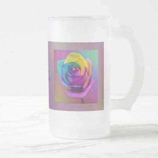 Boda subió arco iris de la flor taza cristal mate