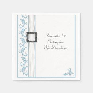 Boda tradicional en colores pastel del cordón azul servilleta de papel