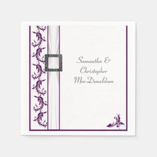 Boda tradicional llano del cordón púrpura y blanco servilletas de papel