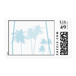 Boda tropical azul de la palmera franqueo