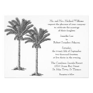 Boda tropical de la isla de la palmera elegante fo anuncio personalizado