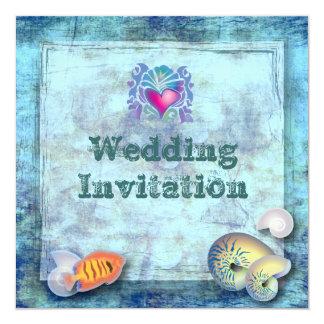 """boda tropical de la isla de los seashells de los invitación 5.25"""" x 5.25"""""""