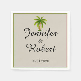 Boda tropical de la palmera servilleta desechable