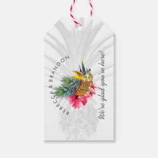 Boda tropical de la piña personalizado etiquetas para regalos