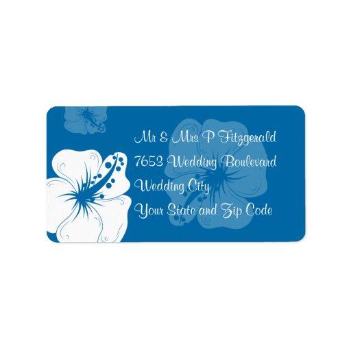 Boda tropical del hibisco del azul cerúleo y del b etiquetas de dirección