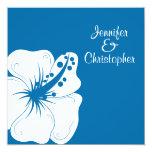 Boda tropical del hibisco del azul cerúleo y del invitación 13,3 cm x 13,3cm