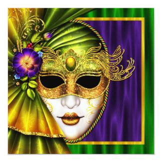 """Boda veneciano elegante del carnaval de la máscara invitación 5.25"""" x 5.25"""""""
