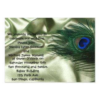 """Boda verde de la vida del travesaño del pavo real invitación 5"""" x 7"""""""