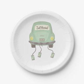 Boda verde del coche de la luna de miel plato de papel 17,78 cm