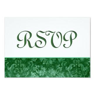 Boda verde del damasco del Grunge de RSVP Anuncio
