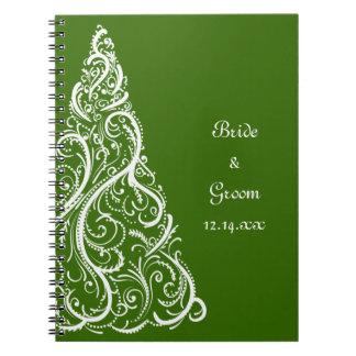 Boda verde del invierno del árbol de navidad cuadernos