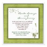 Boda verde simple floral invitacion personalizada