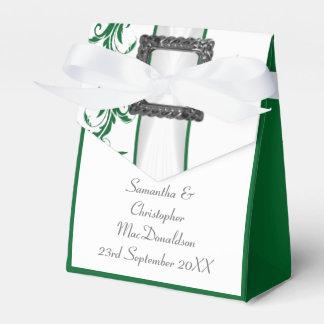 Boda verde y blanco llano del cordón del damasco cajas para detalles de boda
