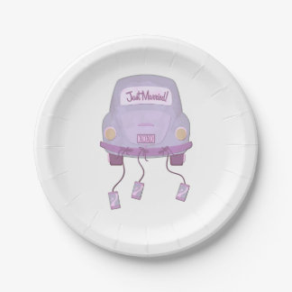 Boda violeta del coche de la luna de miel plato de papel 17,78 cm